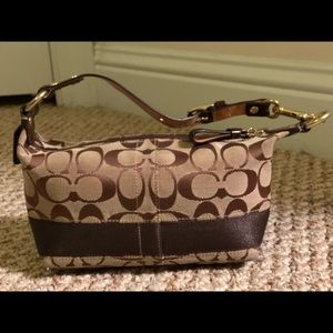 Coach Signature Top Handle Brown Pouch Small Bag